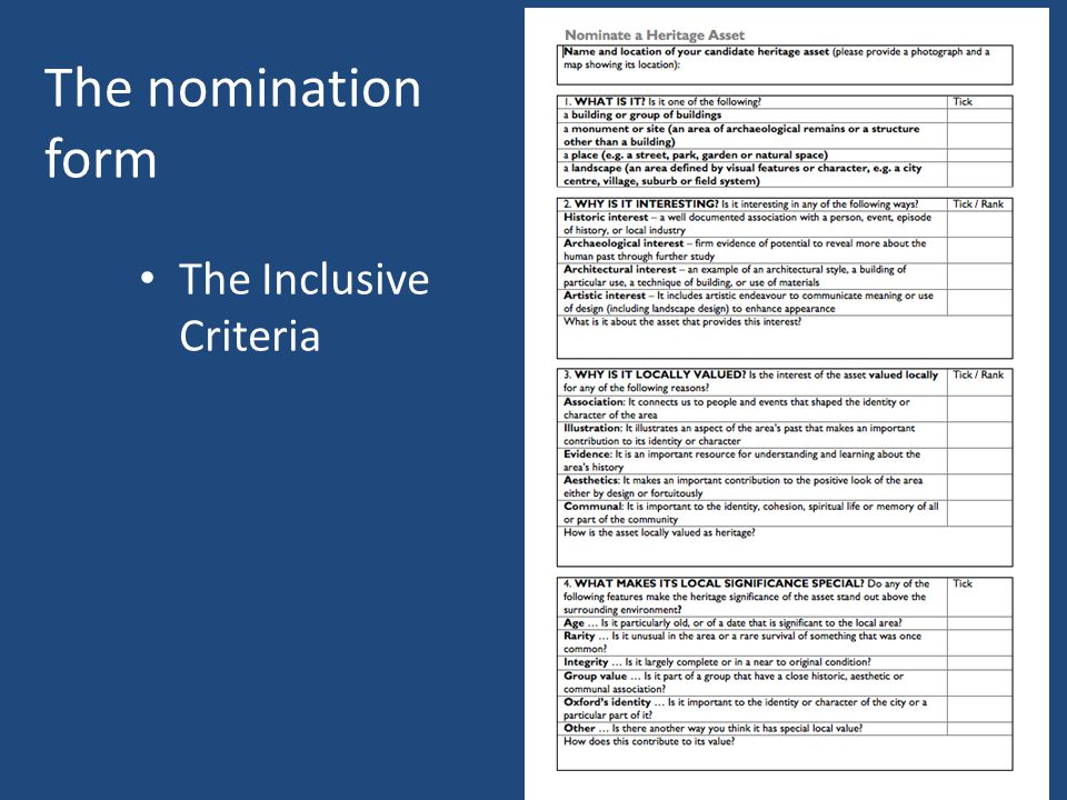 The nomination form The Inclusive Criteria