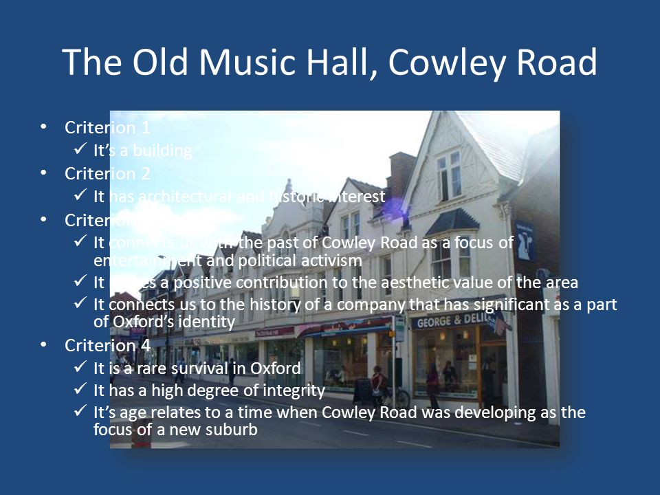 The Old Music Hall, Cowley Road