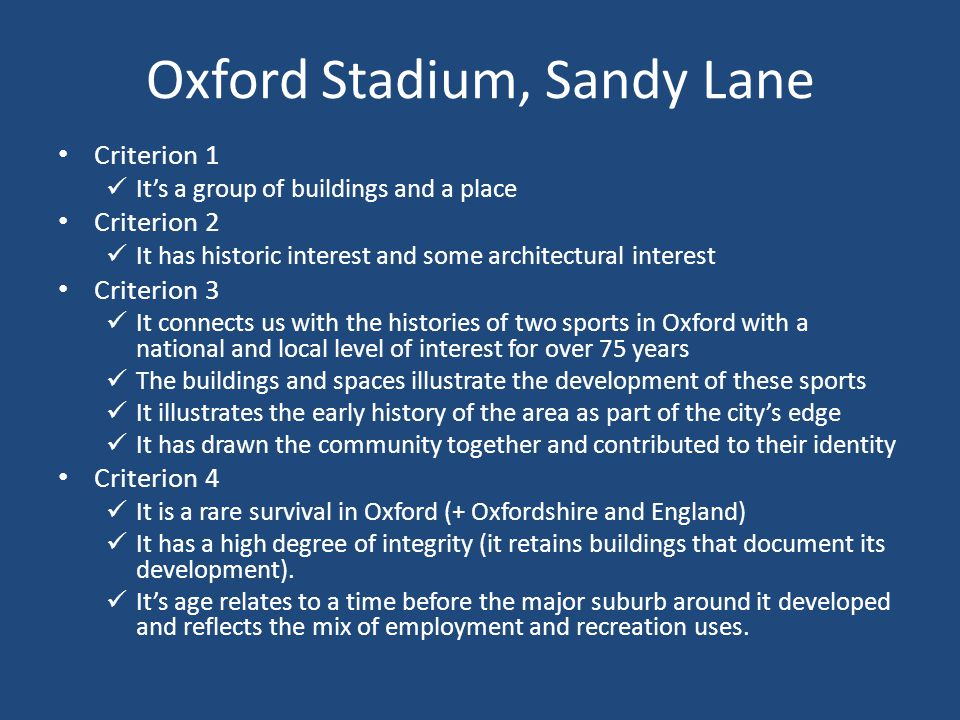 Oxford Stadium, Sandy Lane