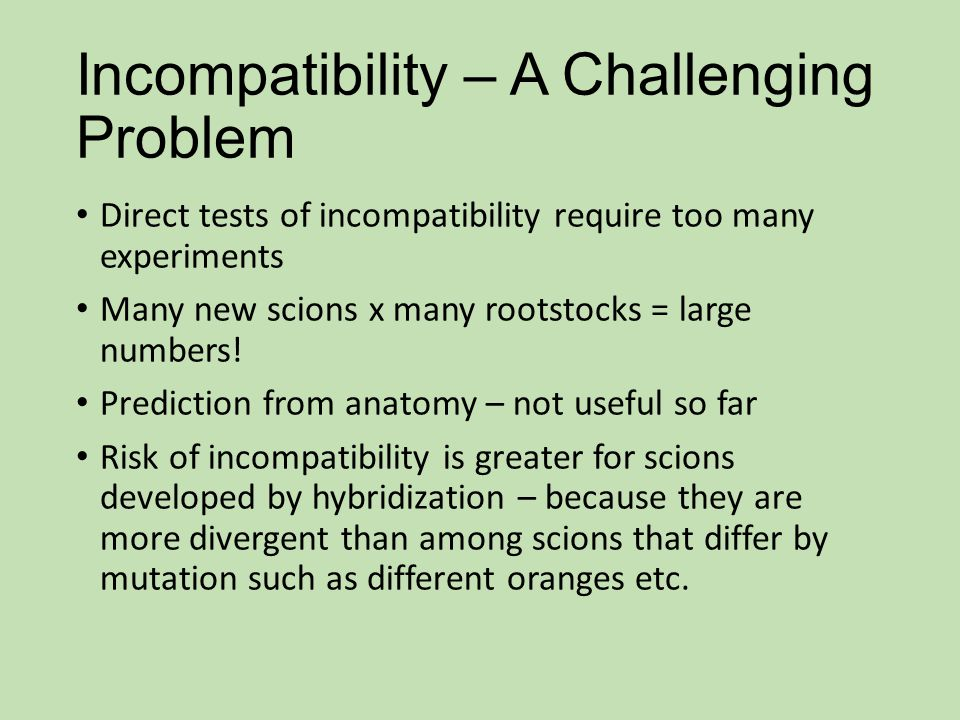 Incompatibility – A Challenging Problem