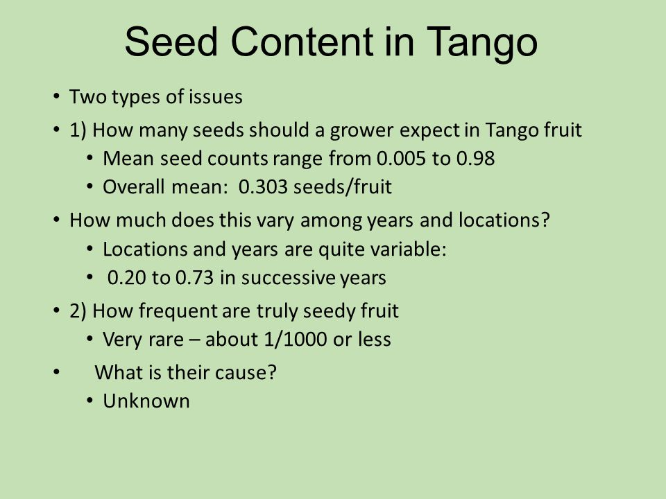 Seed Content in Tango Two types of issues