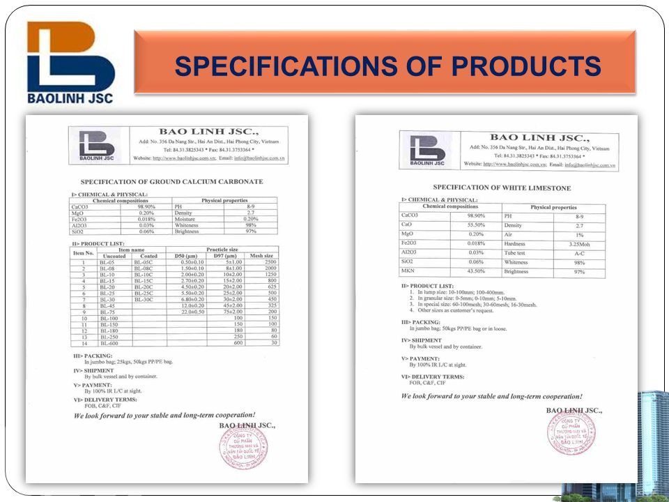 SPECIFICATIONS OF PRODUCTS
