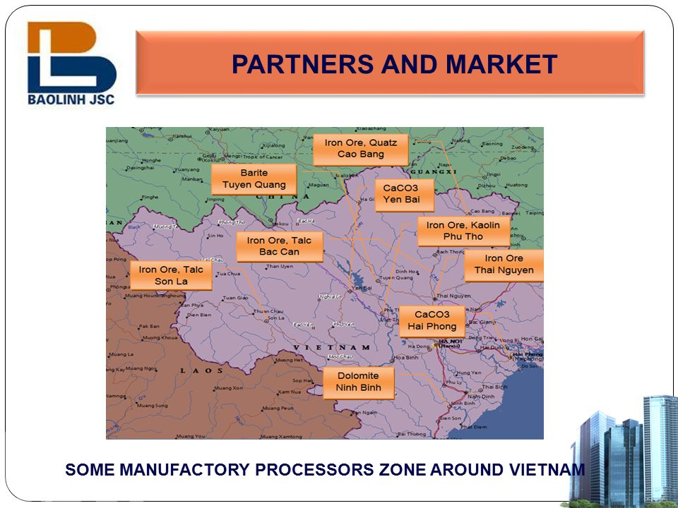 PARTNERS AND MARKET SOME MANUFACTORY PROCESSORS ZONE AROUND VIETNAM
