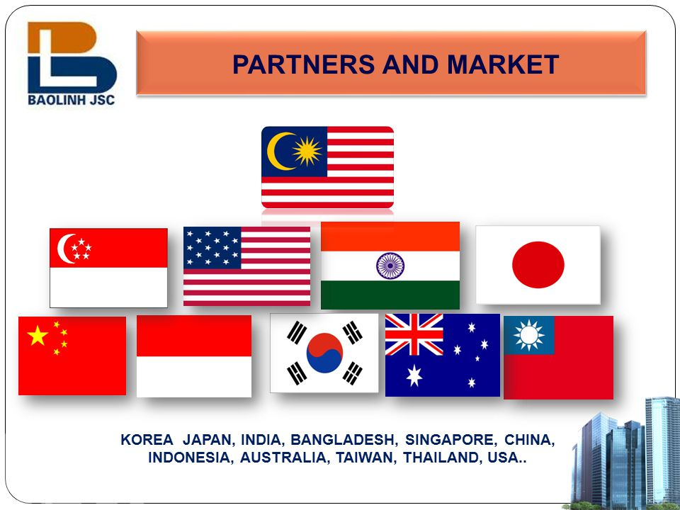 PARTNERS AND MARKET KOREA JAPAN, INDIA, BANGLADESH, SINGAPORE, CHINA, INDONESIA, AUSTRALIA, TAIWAN, THAILAND, USA..