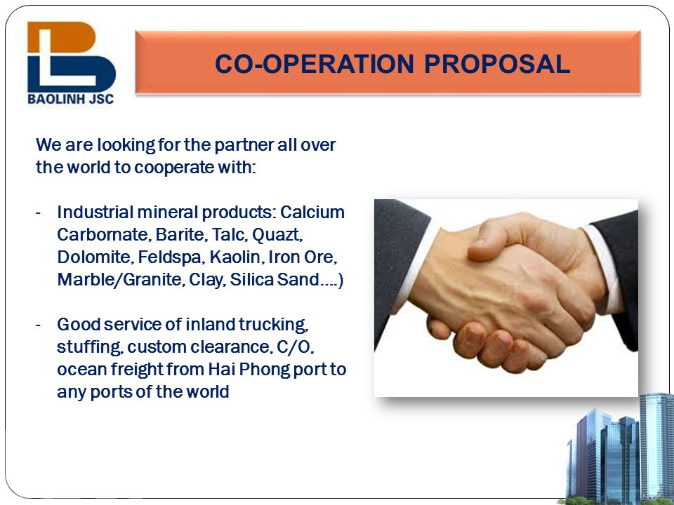 CO-OPERATION PROPOSAL