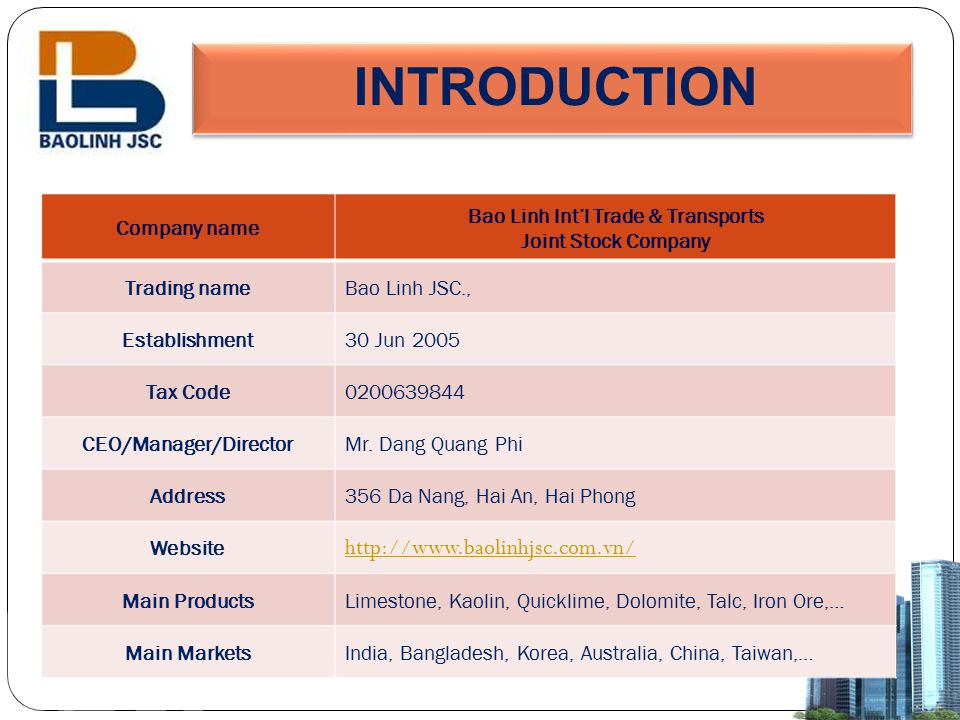 Bao Linh Int'l Trade & Transports CEO/Manager/Director