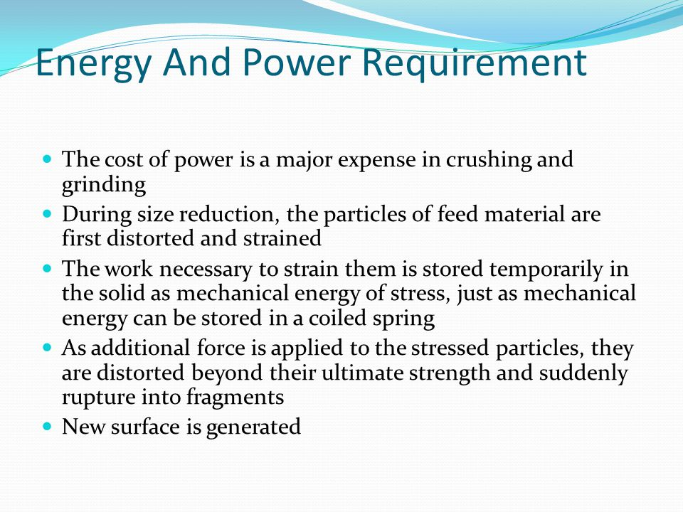 Energy And Power Requirement