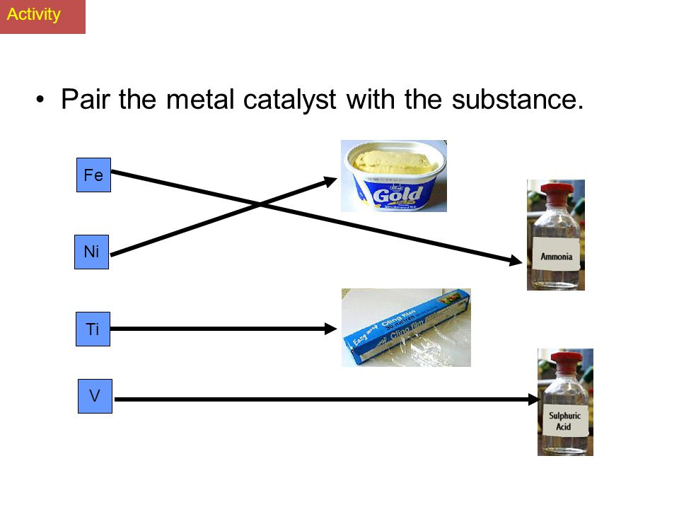 Pair the metal catalyst with the substance.