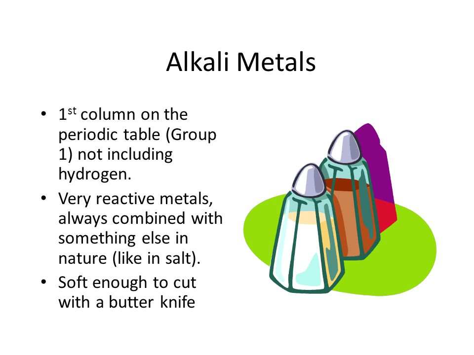 Alkali Metals 1st column on the periodic table (Group 1) not including hydrogen.