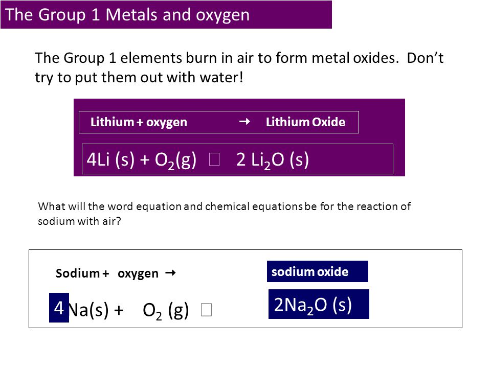 The Group 1 Metals and oxygen