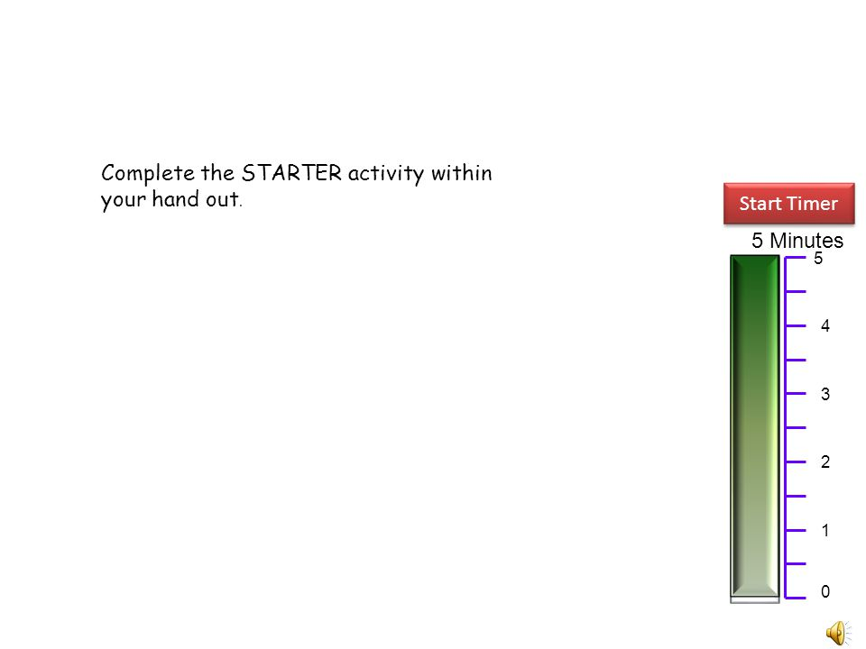 Complete the STARTER activity within your hand out. Start Timer