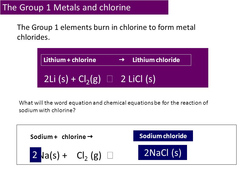 The Group 1 Metals and chlorine
