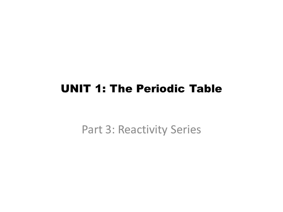 UNIT 1: The Periodic Table