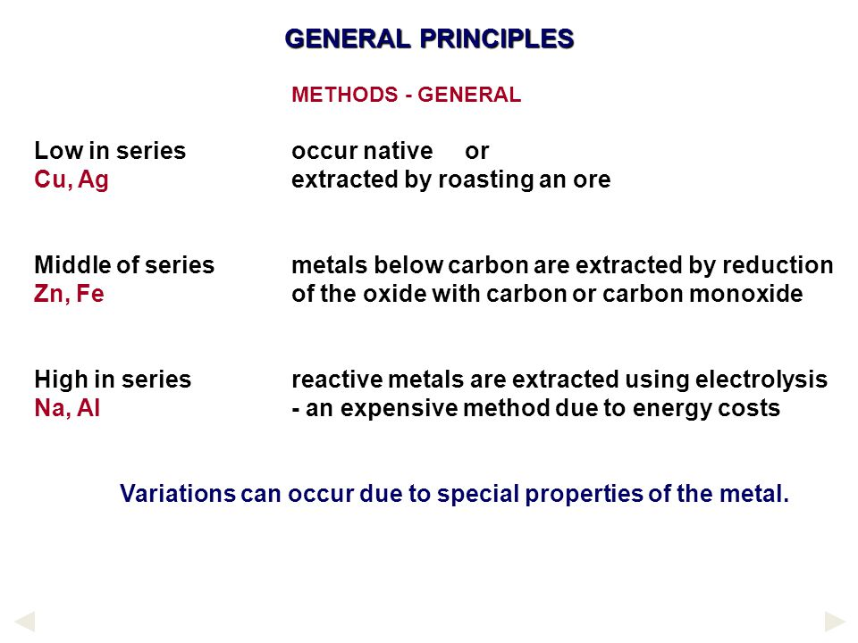GENERAL PRINCIPLES Low in series occur native or