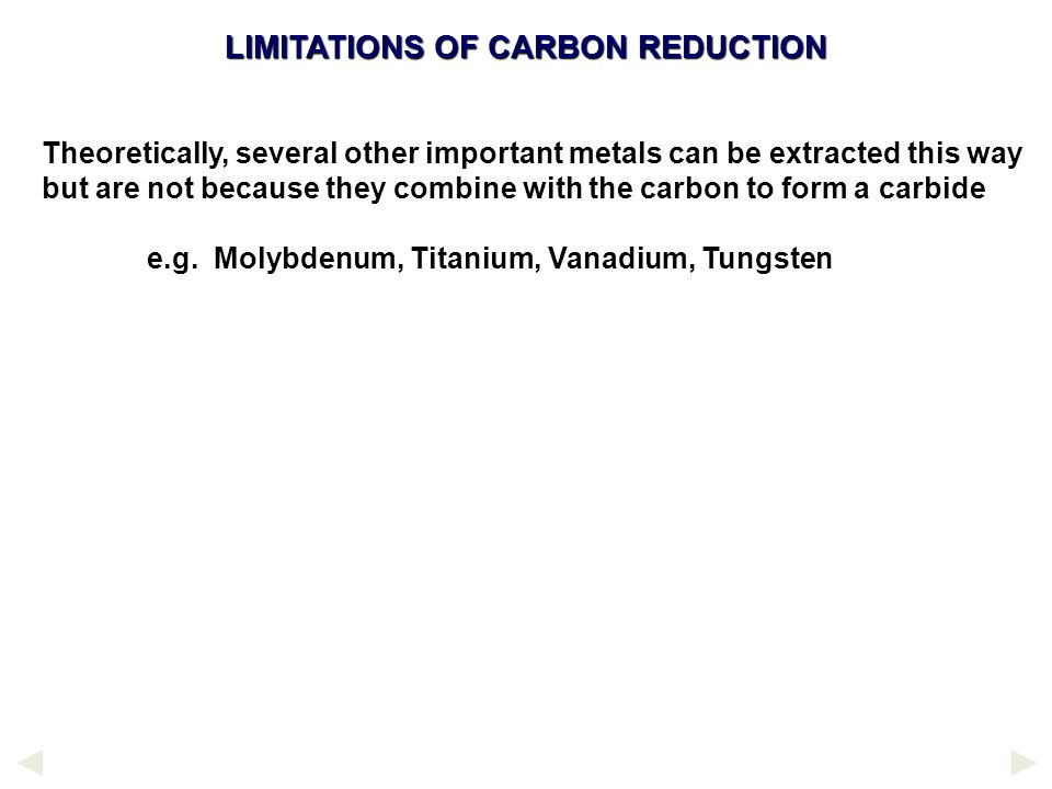 LIMITATIONS OF CARBON REDUCTION