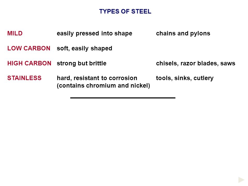 TYPES OF STEEL MILD easily pressed into shape chains and pylons. LOW CARBON soft, easily shaped.