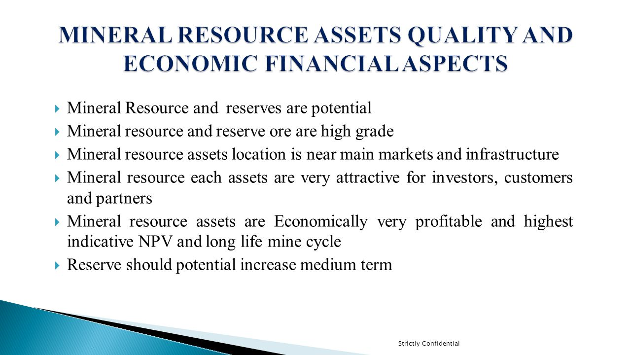 MINERAL RESOURCE ASSETS QUALITY AND ECONOMIC FINANCIAL ASPECTS