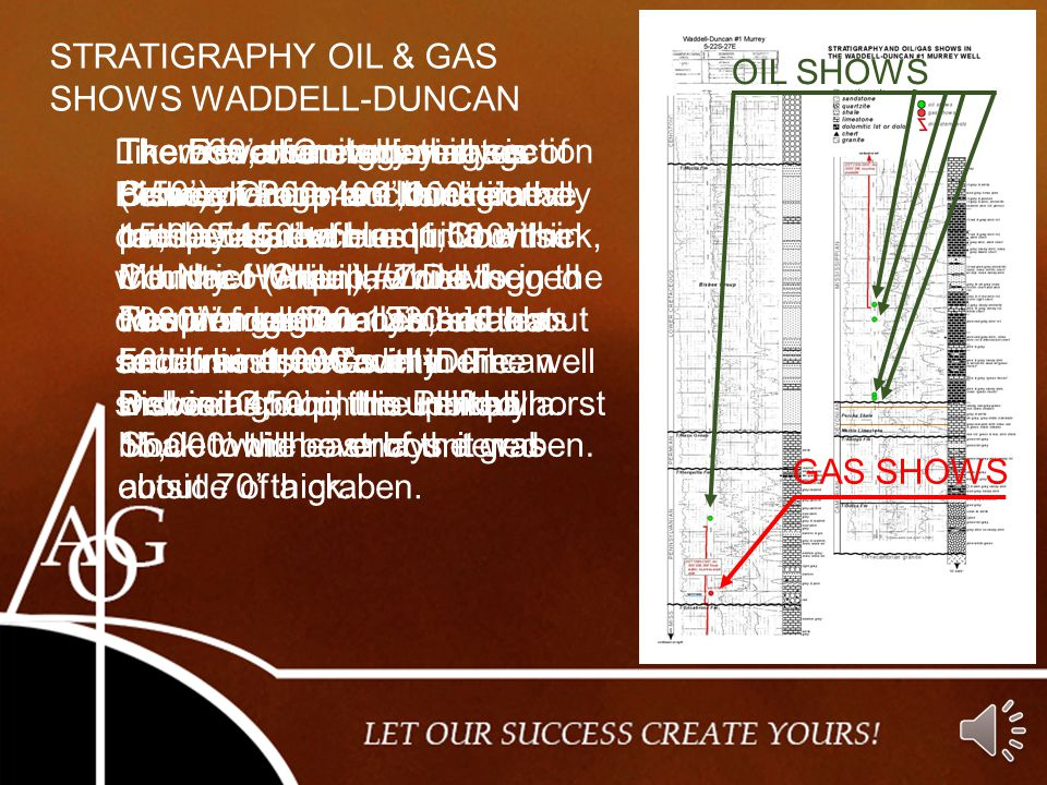 STRATIGRAPHY OIL & GAS SHOWS WADDELL-DUNCAN. OIL SHOWS.