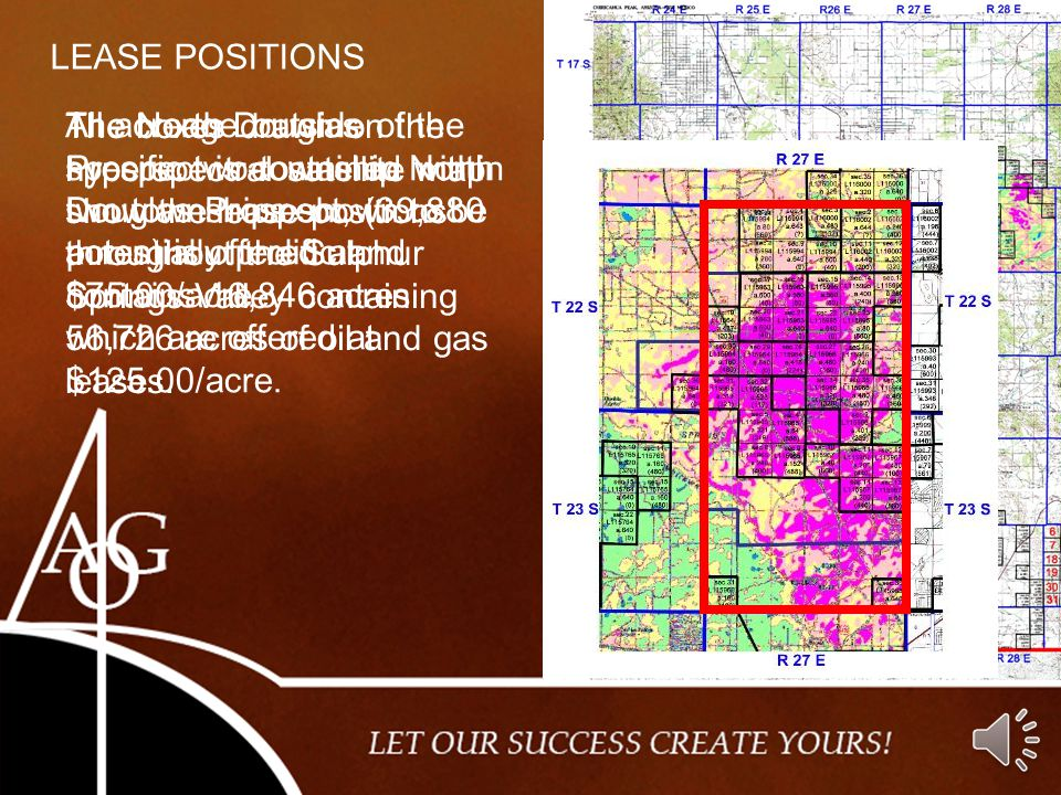 LEASE POSITIONS All acreage outside of the specific two-township North Douglas Prospect, (39,880 acres) is offered at $75.00/acre.