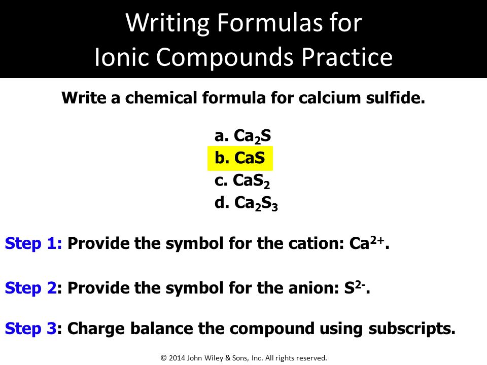 Writing Formulas for Ionic Compounds Practice