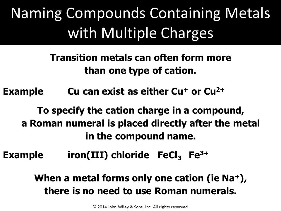Naming Compounds Containing Metals with Multiple Charges