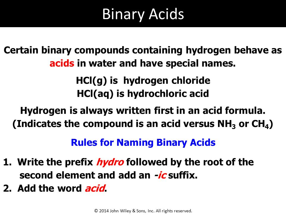 Binary Acids Certain binary compounds containing hydrogen behave as