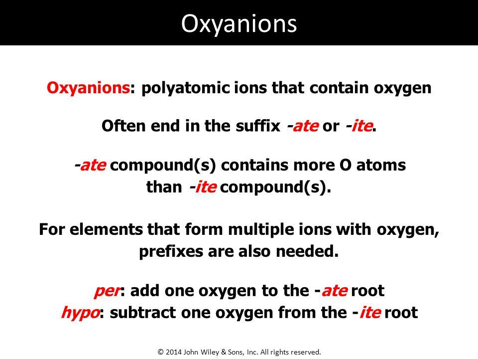 Oxyanions Oxyanions: polyatomic ions that contain oxygen