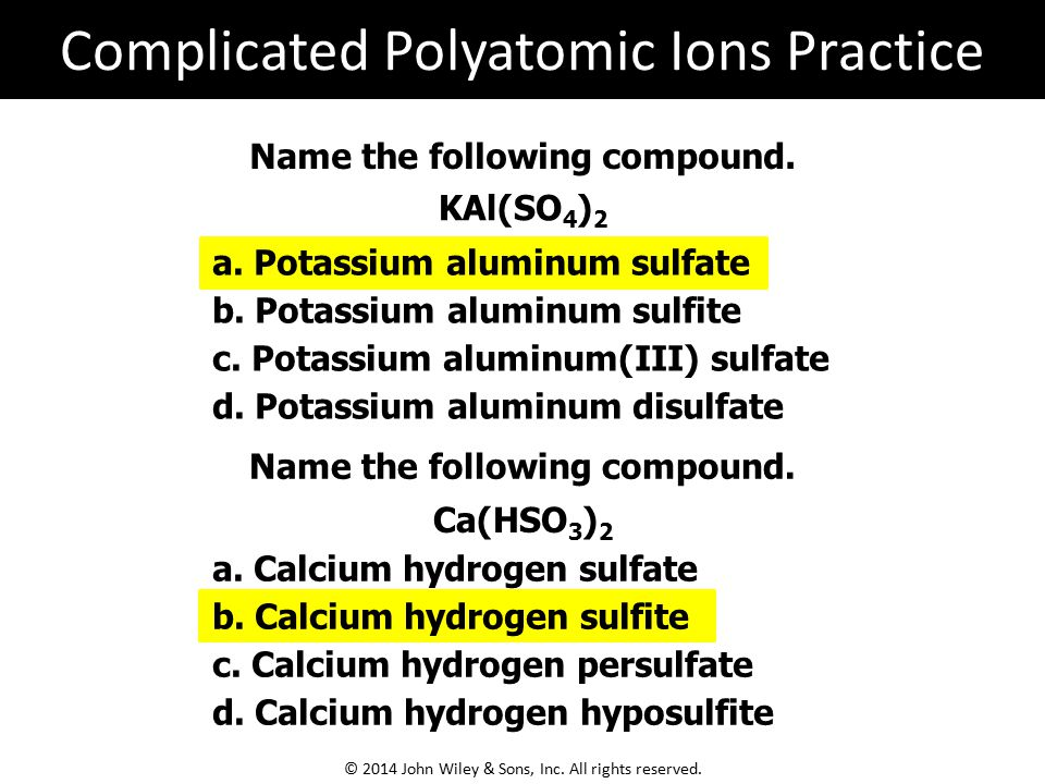 Complicated Polyatomic Ions Practice