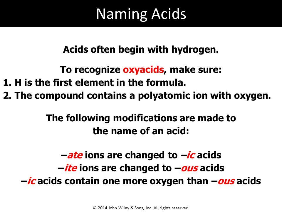 Naming Acids Acids often begin with hydrogen.