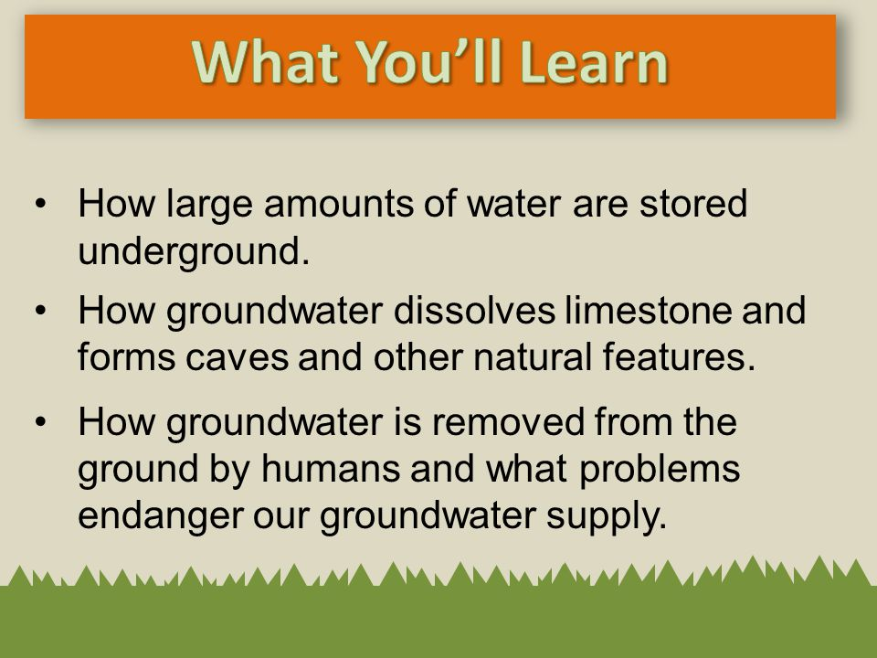 What You'll Learn How large amounts of water are stored underground.