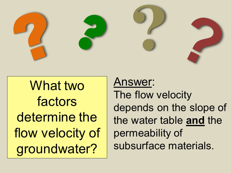 What two factors determine the flow velocity of groundwater