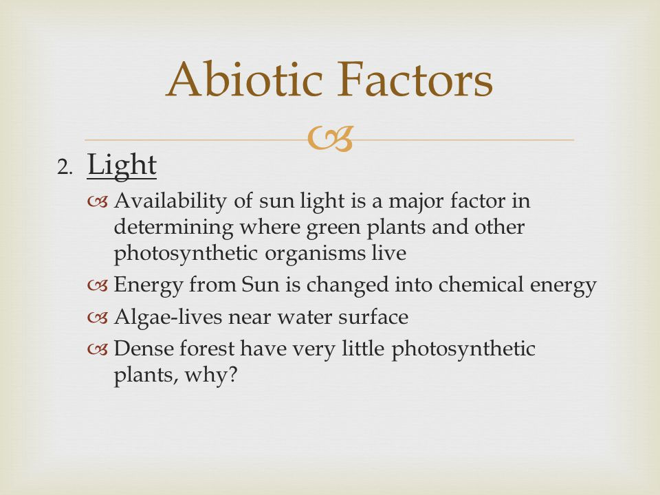 Abiotic Factors 2. Light. Availability of sun light is a major factor in determining where green plants and other photosynthetic organisms live.