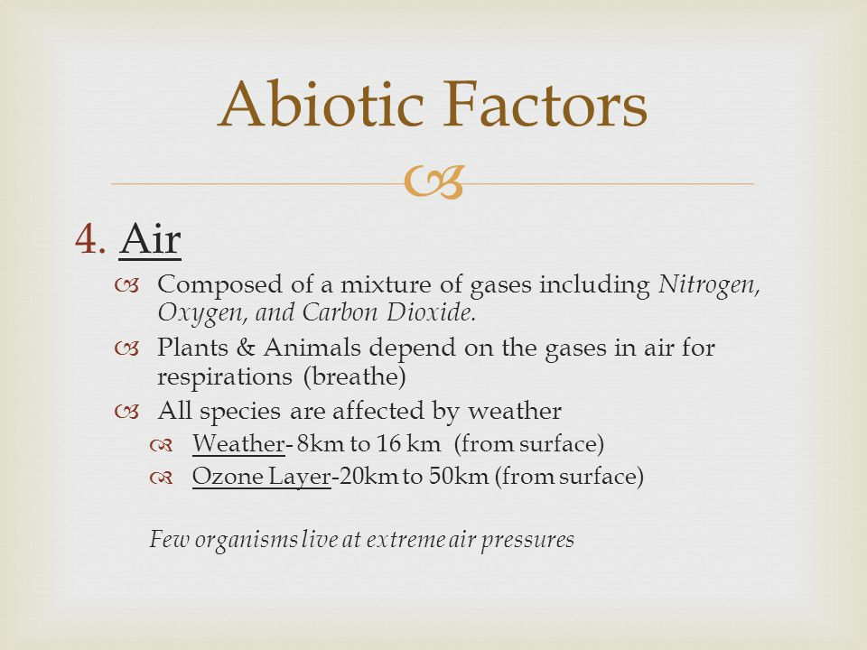 Abiotic Factors Air. Composed of a mixture of gases including Nitrogen, Oxygen, and Carbon Dioxide.