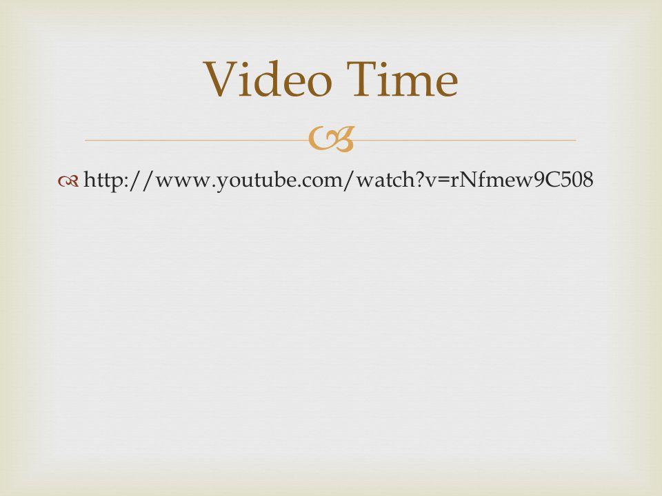 Video Time http://www.youtube.com/watch v=rNfmew9C508