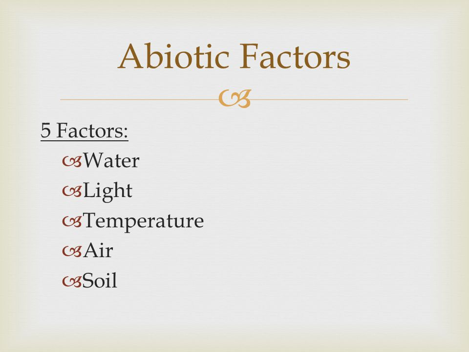 Abiotic Factors 5 Factors: Water Light Temperature Air Soil