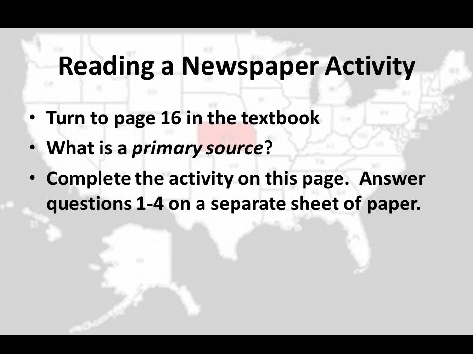 Reading a Newspaper Activity