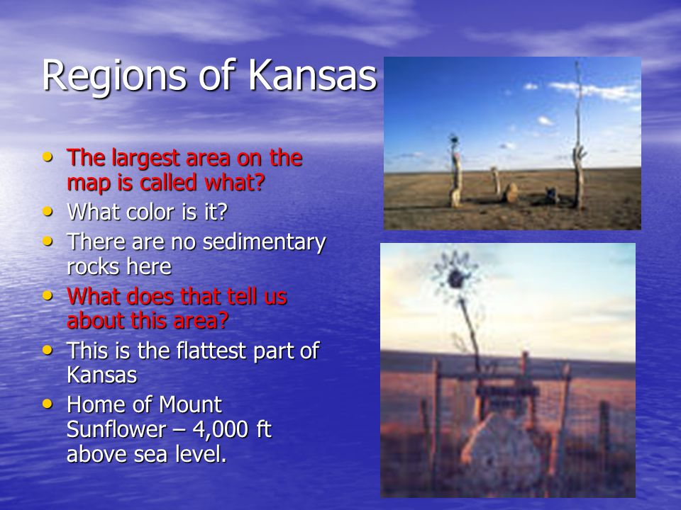 Regions of Kansas The largest area on the map is called what