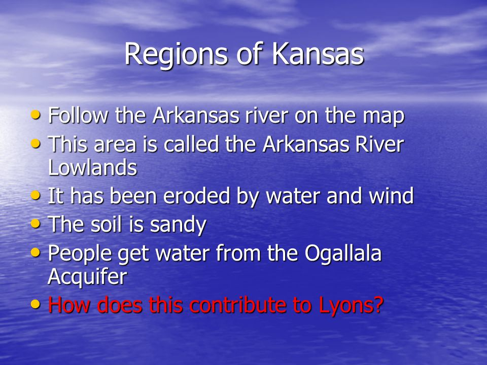 Regions of Kansas Follow the Arkansas river on the map