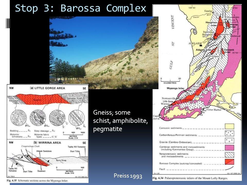 Stop 3: Barossa Complex Gneiss; some schist, amphibolite, pegmatite
