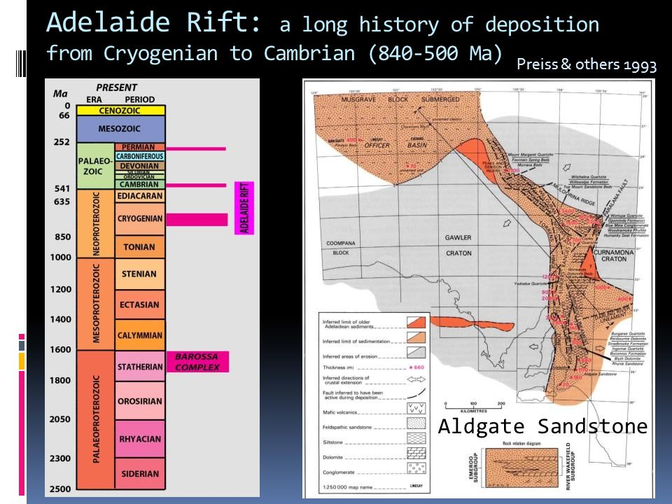 Adelaide Rift: a long history of deposition from Cryogenian to Cambrian (840-500 Ma)