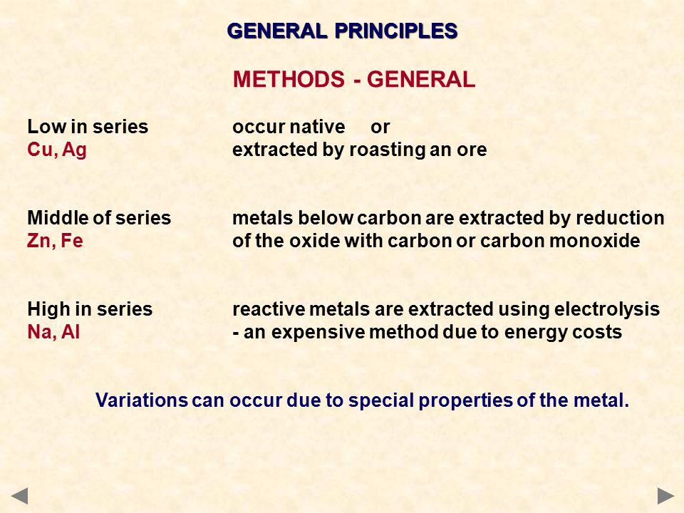 METHODS - GENERAL GENERAL PRINCIPLES Low in series occur native or