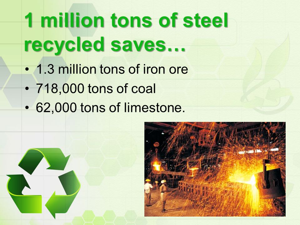 1 million tons of steel recycled saves…