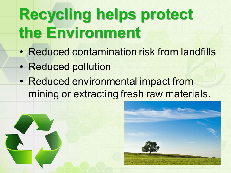Recycling helps protect the Environment