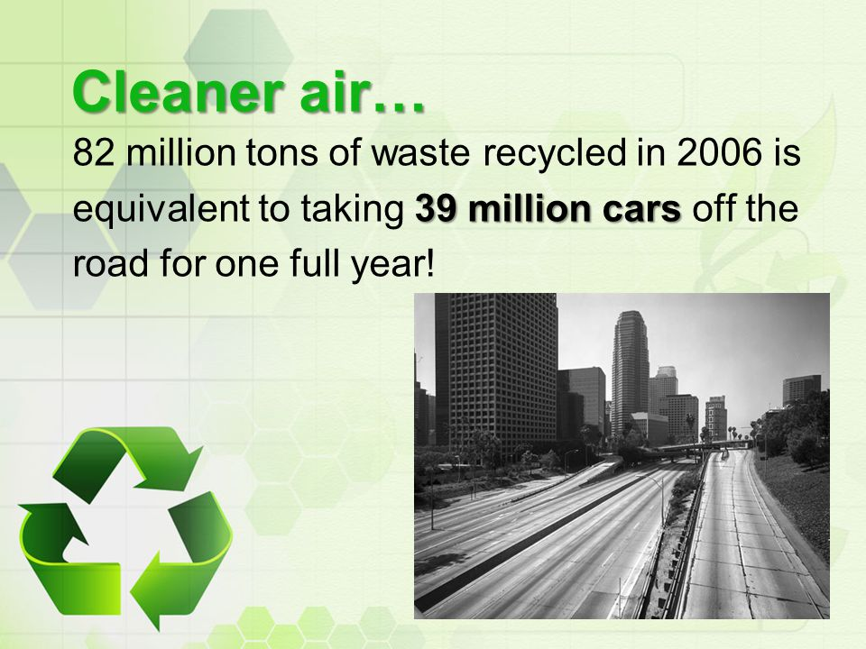 Cleaner air… 82 million tons of waste recycled in 2006 is