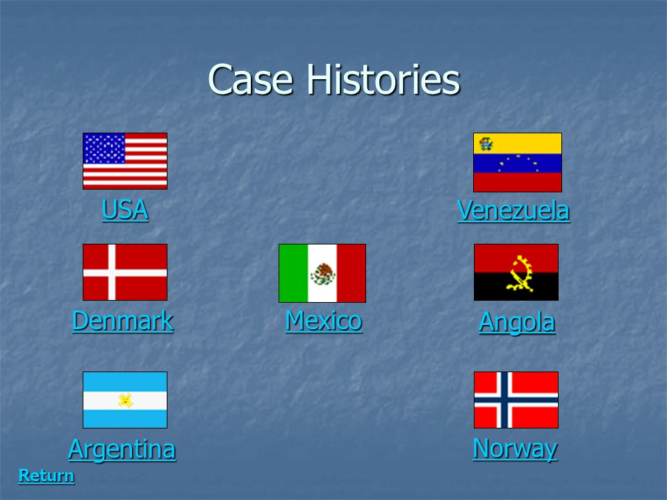 Case Histories USA Venezuela Denmark Mexico Angola Argentina Norway