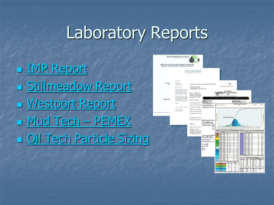 Laboratory Reports IMP Report Stillmeadow Report Westport Report