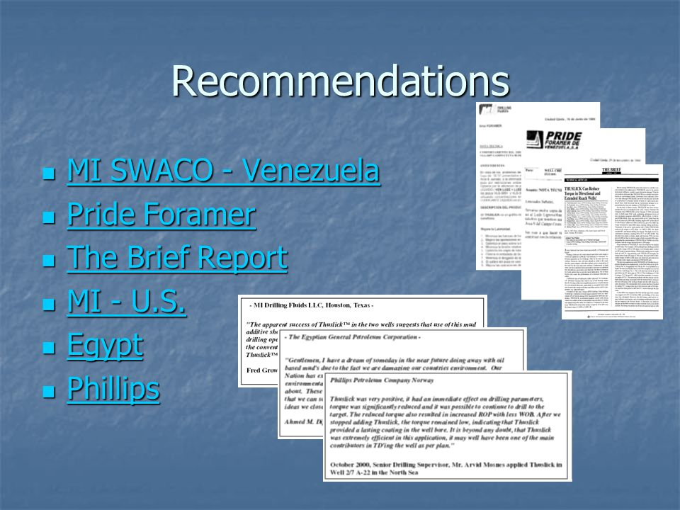 Recommendations MI SWACO - Venezuela Pride Foramer The Brief Report