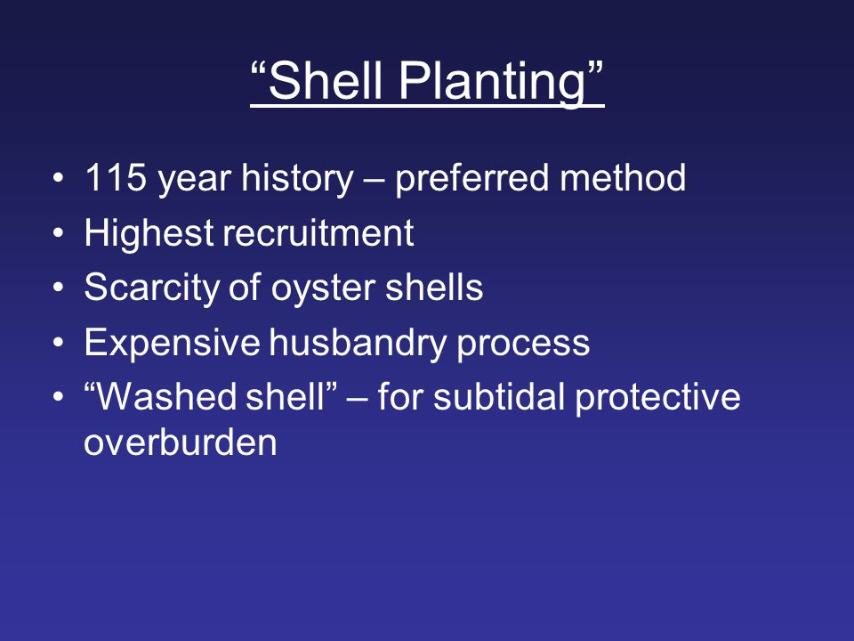 Shell Planting 115 year history – preferred method