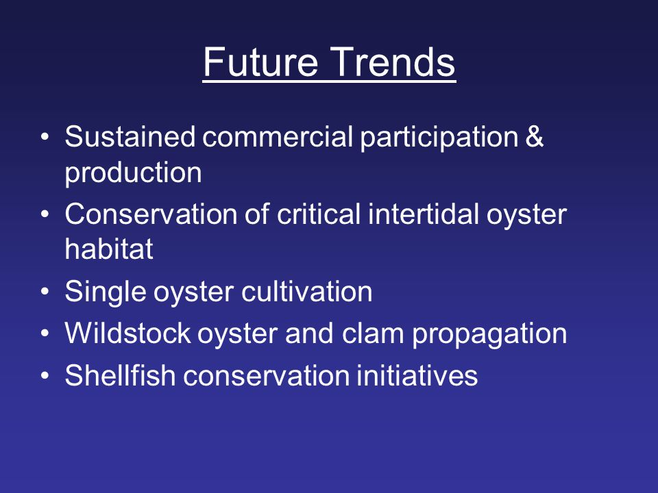 Future Trends Sustained commercial participation & production