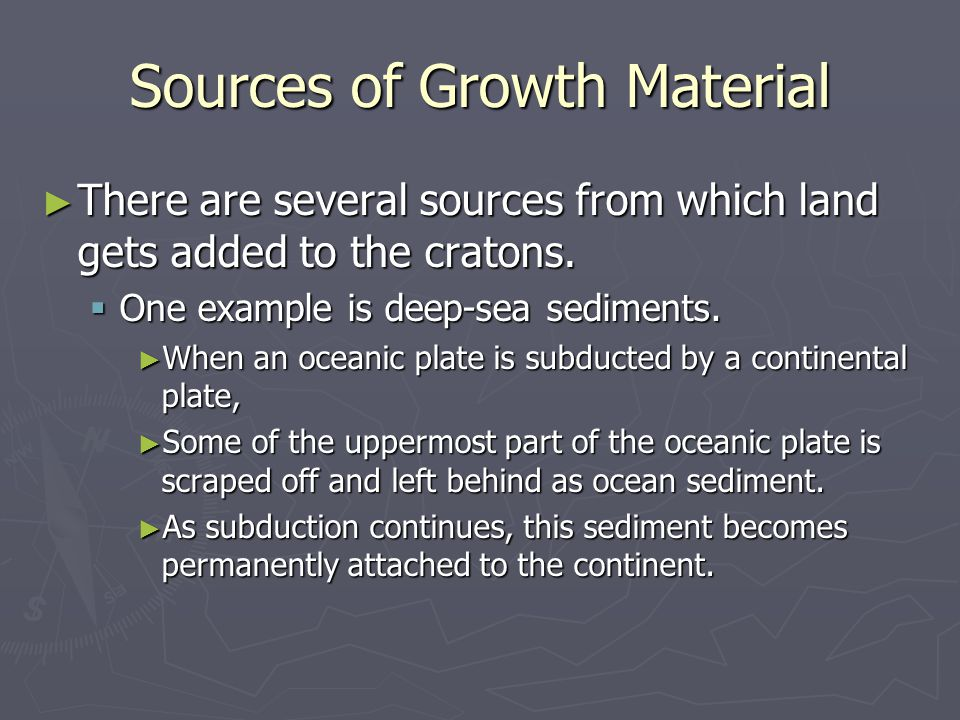 Sources of Growth Material